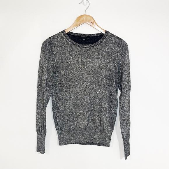 ANN TAYLOR Metallic Threaded Sweater Crew Neck